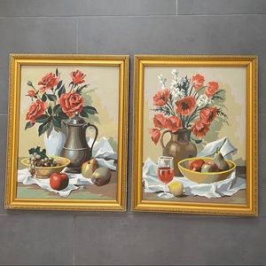 Vintage 1963 Paint By Number Still Life Paintings